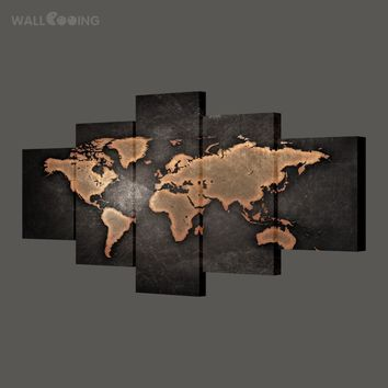 WALL COOING 2017 home decor painting calligraphy world map picture waterproof canvas HD print 5pcs black design art