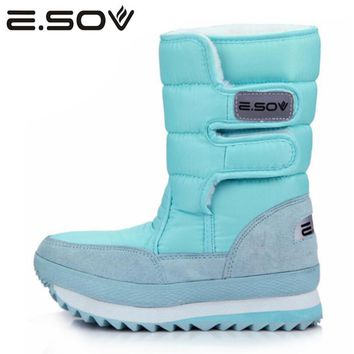 Esov 2017 Plus Size35-45 Woman Snow Boots  Slip On Women Winter Platform Sneakers Boots Fur Inside Mid Calf Boots Women's Shoes