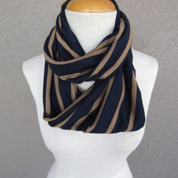 Striped Infinity Scarf - Navy and Tan Striped Scarf - Navy Blue Circle Scarf