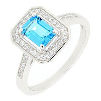 Sterling Silver Emerald Cut Genuine Blue Topaz Ring w Accent Vintage Style 1 14 CTTW