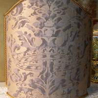 Venetian Lamp Shade in Fortuny Fabric Grey & Silvery Gold Corone Pattern - Handmade in Italy
