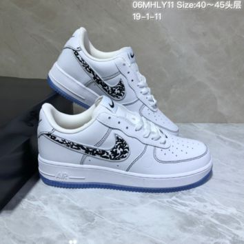 KUYOU N947 Nike Air Force 1 AF1 Mid Embroidery Fashion Casual Skate Shoes White Black