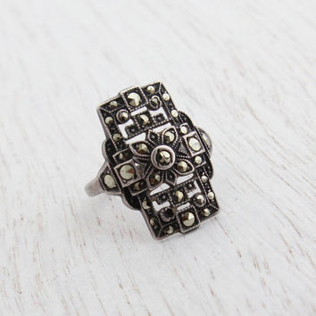 Antique Art Deco Sterling Silver Ring -  Marcasite Shield 1930s Size 6 1/2 Jewelry / Floral Shield