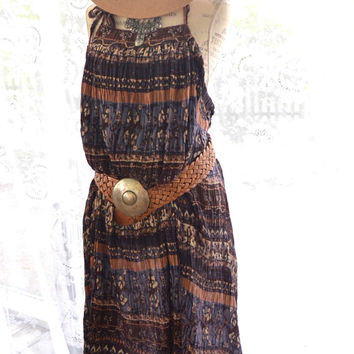 Gypsy halter India dress, Bohemian backless fall music festival, Day tripper dress, Vintage hippie Boho beach tunic True rebel clothing OS