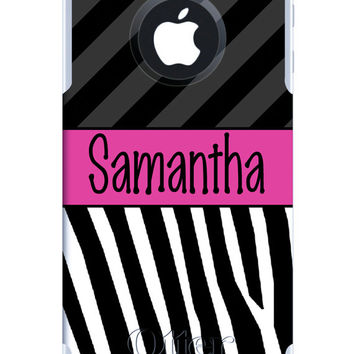 OTTERBOX COMMUTER iPhone 5 5S 5C 4/4S Case Custom Two Tone Zebra Stripes Name Band Personalized Monogram