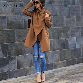 AOTEMAN Winter Jacket Women New Vintage Solid Long Sleeve Ladies Jackets Blazers Elegant Wool Coat Casaco Feminino