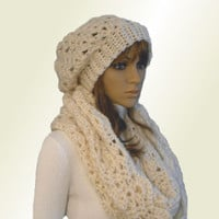 INFINITY Scarf Hood Cowl Knit Crochet Fishermans Cream Almost White Eternity Loop Infiniti Shoulder Wrap Spring Church Head Cover Scarf