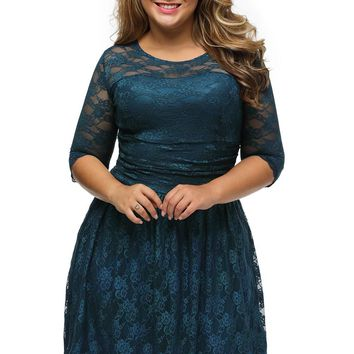 Blue Three Quarters Sleeves Lace Wedding Plus Dress