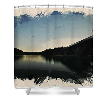 Watercolor Astro Startrails - Shower Curtain