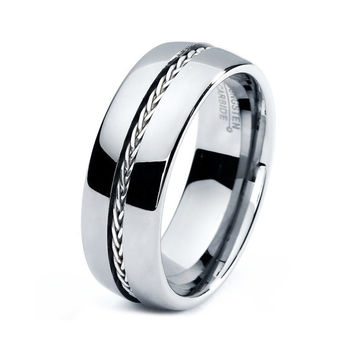 Mens Tungsten Carbide Wedding Band Ring 8mm 5-15 Sizes Braided .925 Sterling Silver Inlay High Polished Comfort Fit Domed Custom Engraved