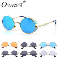 Glasses For Women 2015 New Fashion SteamPunk Sunglasses Stylish Design Metal Frame Mirror Lens