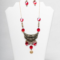 Statement Red and Gold Necklace and Earrings Set