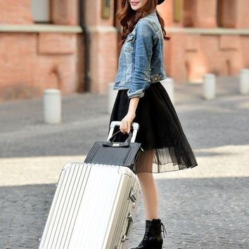 "28"" Aluminum ABS Suitcase Rolling Trolley Locking Luggage Box"