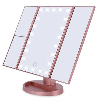STYLEDOME Tri-Fold 22 LED Lights 2X 3X Magnification Touch Screen Desktop Makeup Mirror