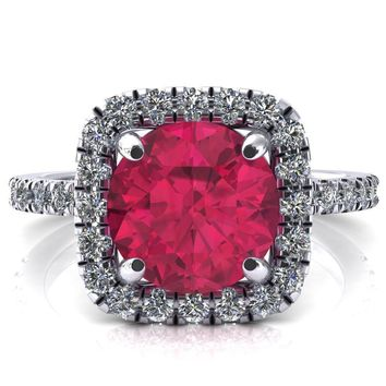 Molly Round Ruby Halo 4 Prong 3/4 Diamond Eternity Engagement Ring