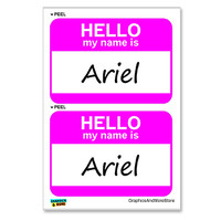 Ariel Hello My Name Is - Sheet of 2 Stickers