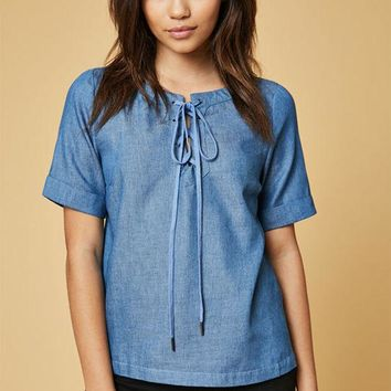 DCCKJH6 Lucca Couture Lace-Up Denim T-Shirt