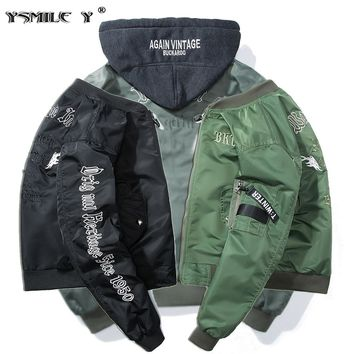 Fashion Men Aviator Bomber jacket Young Hip-Hop Embroidery Patch Streamer Outerwear Military style Solid Baseball Hooded Coat