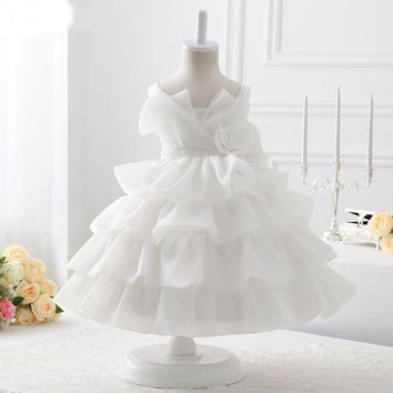 White Organza With Flowers Ball Gown Flower Girl Dresses New Design First Flower Girl Dress