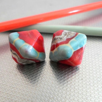Lampwork Beads, Bright Red Chrystal Glass Beads, Handmade Artisan jewelry Supplies for Lampwork Jewelry