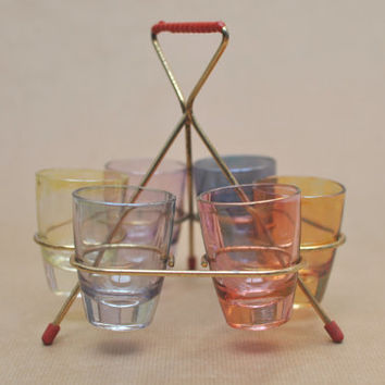 Mid Century Vintage Glass Caddy for six shot glasses, Original Wire Rack, Sixties or Fifties