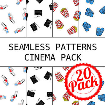 Seamless Patterns JPG Files - Movie Theater Cinema Pack - Digital Scrapbook Paper Pack