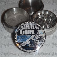 Marijuana Girl Retro Movie Poster Crystals 4 Piece CNC Aluminum Pollen Herb Grinder Grinders