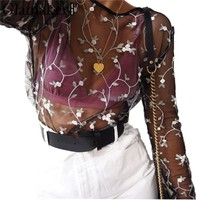 Glamaker Floral embroidered mesh blouse shirt Women casual shirt summer see-through tank top Sexy party flower female blouse