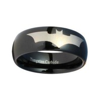 Batman Print on a Black Tungsten Carbide DC Width 8 mm Band Ring Size 7 - 13 R162