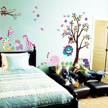 & 3D Cartoon zoo animals griaffe lion monkey wall stickers kids room nursery room decorations decals wall paper PVC Art Poster