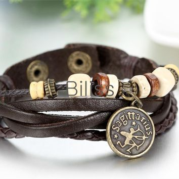 SHIPS FROM USA 2017 Vintage Multilayer Braided Constellation Taurus Charm Bracelets Wristband Cuff Leather Bracelet For Women Men