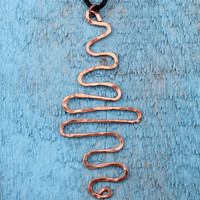 Copper Wire Wavy Hammered Pendant on Black Satin Tied Cord Handcrafted