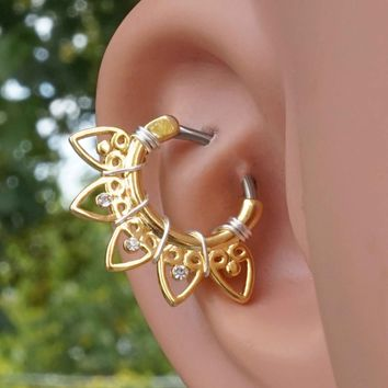 Tribal Fan 16 Gauge Gold Clicker Daith Hoop Ring Rook Hoop Cartilage Helix