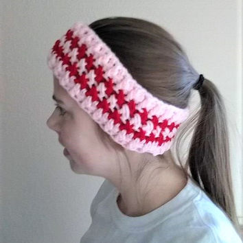Crochet Ear Warmer, Crochet Headband, Valentines Accessory, Gifts for Her, Messy Bun Headband