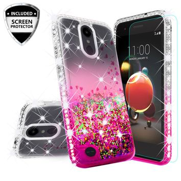LG Aristo 2 Case, Aristo 2 Plus Case Liquid Glitter Phone Case Waterfall Floating Quicksand Bling Sparkle Cute Protective Girls Women Cover for Aristo 2 Plus/Aristo 2/Tribute Dynasty/LV3 2018 - Hot Pink