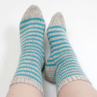Blue beige socks, Light blue socks, Thick socks, Striped socks, Pastel socks, Wool socks, Knitted socks, Warm socks, Thick socks