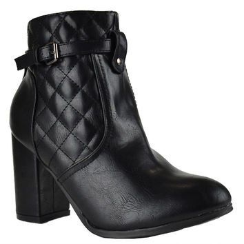 1d11f9e5fbc Womens Ankle Boots Sleek Quilted Ankle Strap Chunky High Heel Shoes Black