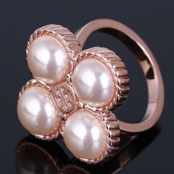 Tory Burch New fashion floral pearl metal personality ring women Rose Gold