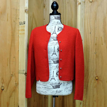 Red wool cropped jacket  / vintage 80s virgin wool sweater / 1980s Allen Lolly /  cherry red wool crop sweater jacket