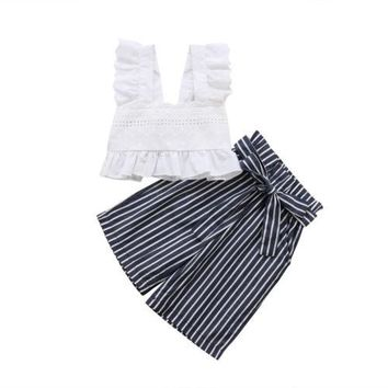 Toddler Kids Baby Girls Clothing Lace Party Striped Crop Tops Vest Pants Cute 2pcs Bow Clothes Summer Girl 1-6T