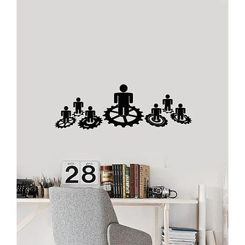Vinyl Wall Decal Teamwork Job Work Office Business People Gears Stickers Mural (g905)