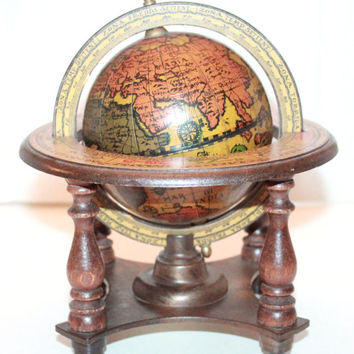 Vintage Italian Old World Globe and Stand / Home Decor / Office Desk Globe / Zodiac Stand
