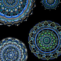 Mandalas in Green, Blue, and White