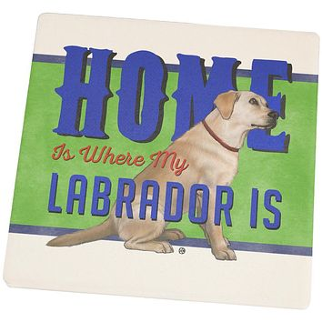 Home is Where My Yellow Lab Retriever Is Set of 4 Square Sandstone Coasters