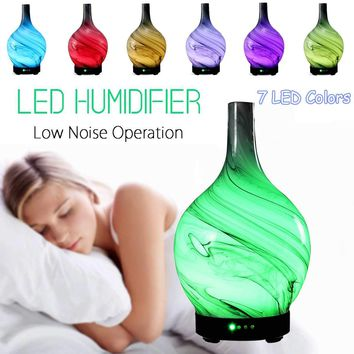 100ml Glass Aromatherapy Humidifier Essential Oil Diffuser Ultrasonic 7 Color LED Night Light Home Office Living Room Spa Yoga