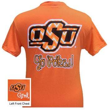 Oklahoma State Cowboys Chevron Logo Girlie Bright T Shirt