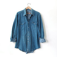 vintage 80s Wrangler denim jean shirt. pearl snap button down shirt. oversized denim boyfriend shirt
