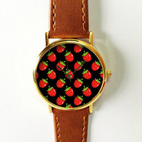 Strawberry Watch, Vintage Style Leather Watch, Women Watches, Boyfriend Watch,Fruits, Red,Black,Green