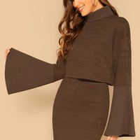 Rolled Neck Exaggerate Bell Sleeve Top And Skirt Set