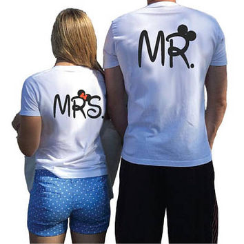 Cute Mr Mrs Matching Couple Anniversary Shirts Mickey Minnie Mouse Disney Font Wedding Date,Free Shipping and Gift, Married With Mickey, 002